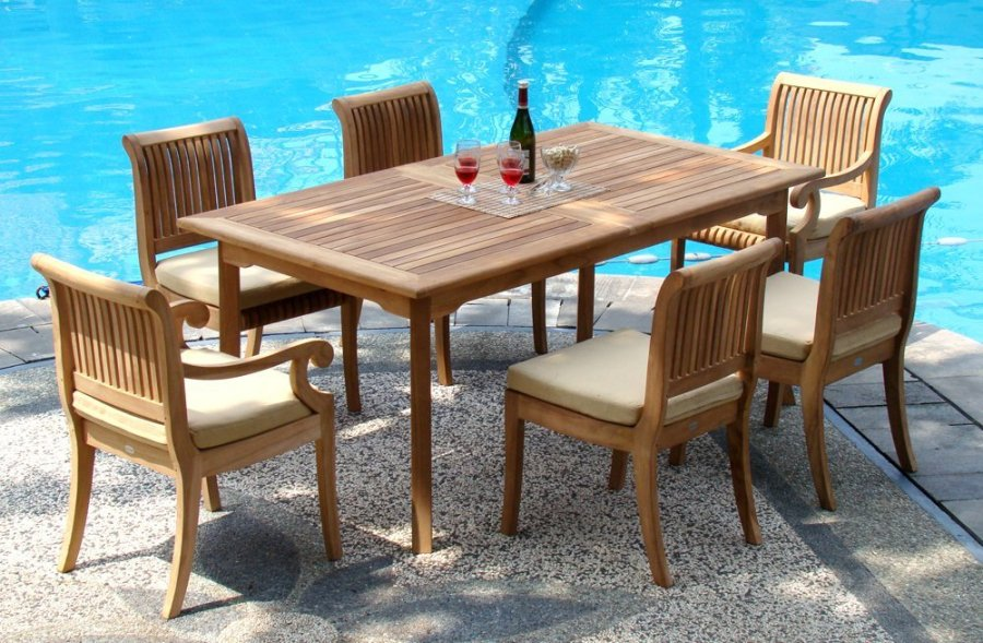 7 Piece Grade A Teak Dining Set     94  Double Extension Rectangle     7 piece teak dining set giva chairs