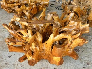 teak root table base
