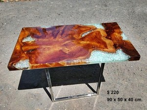 Teak Root Resin Table Broken Glass Look