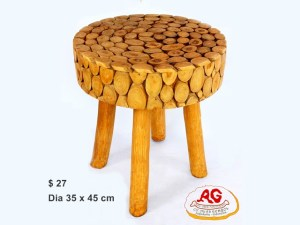 Round Teak Stool Wood Pieces