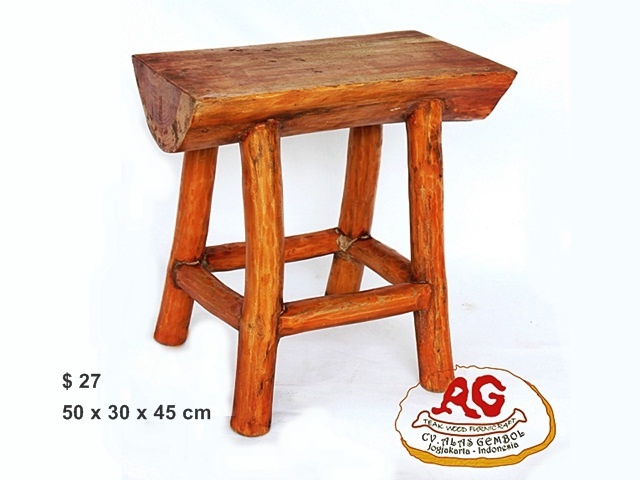 Square Teak Stool Half Log