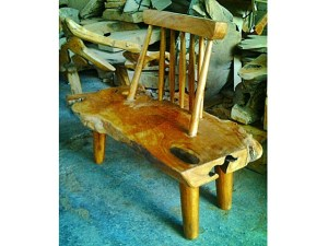 Teak Root Bench Slat back