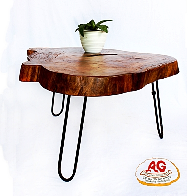 Irreguler Teak Top Table Iron Leg
