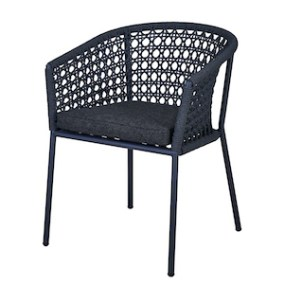 Aluminum and rope armchair