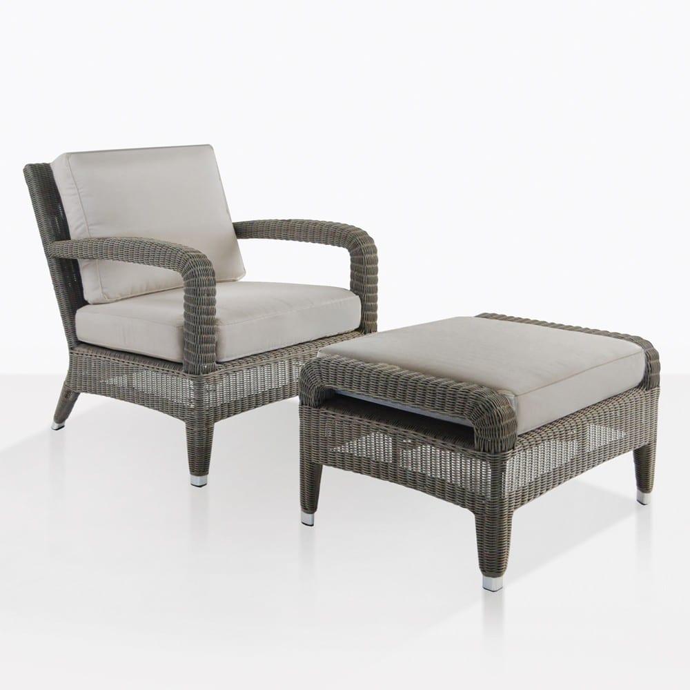 aaron outdoor wicker chair and ottoman set kubu
