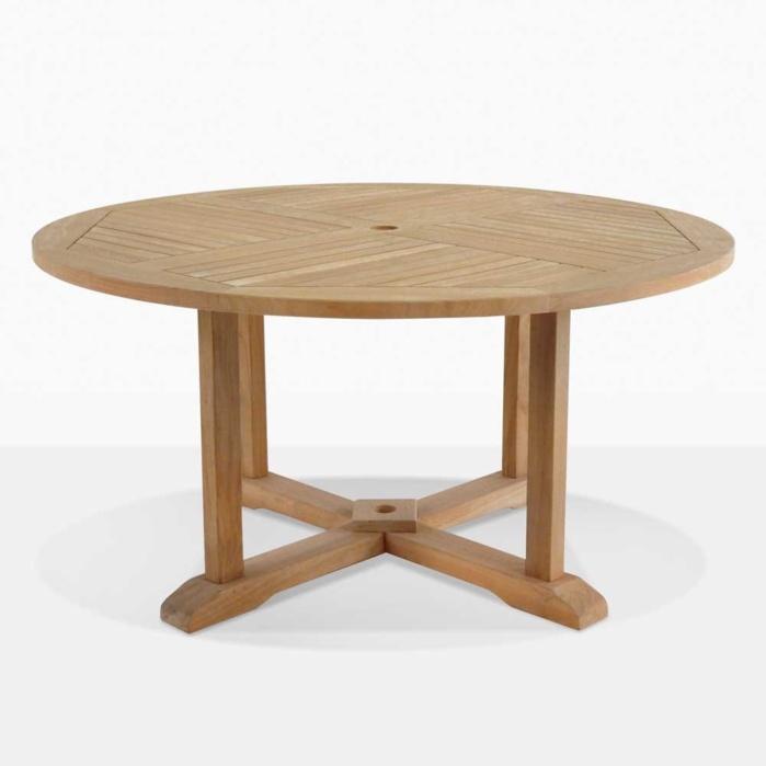 round teak pedestal dining tables