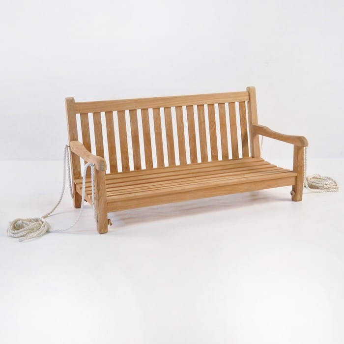 outdoor teak bench swing
