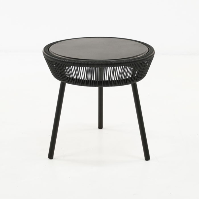 luxe outdoor accent table black