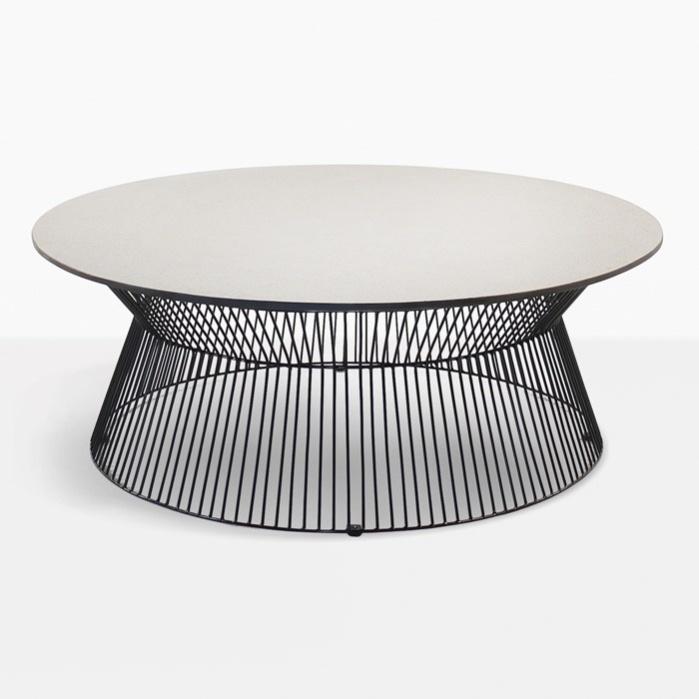 deco round coffee table white sand