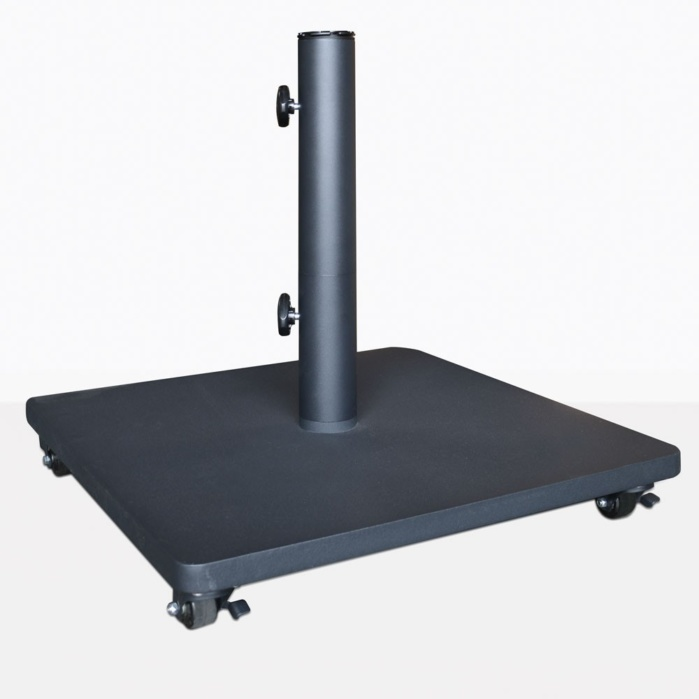 flat steel umbrella base with casters 120 lbs