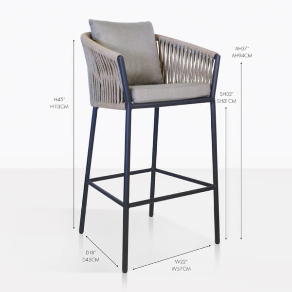 washington rope outdoor bar stool taupe