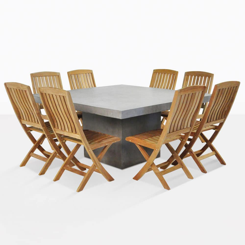 outdoor dining set square concrete table with 8 chairs