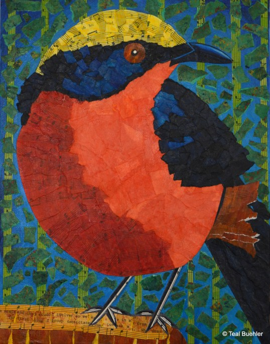 Yellow Crowned Gonolek - 11x14 Collage on Canvas Board