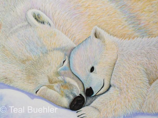 Polar Bear Love #2 - 18x24 Stretched Canvas