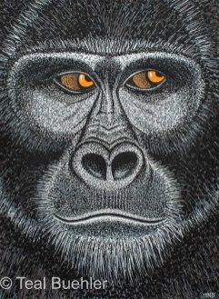 Gorilla - 8.5 x 11.5 Acrylic Paint & Pens on Watercolor Paper