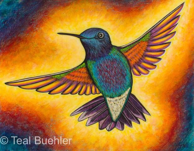 Hummingbird - 11 x 14 Acrylic on Canvas Board