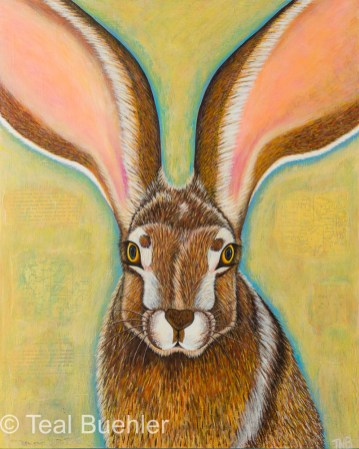 Jackrabbit - 16 x 20 Acrylic and Collage on Wood Panel