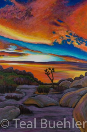 SOLD - Sunset at Joshua Tree - 24 x 36 Acrylic and Collage on Canvas