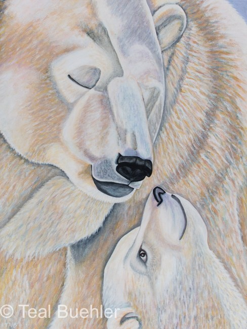 Polar Bear Love - 18x24 Stretched Canvas-SOLD