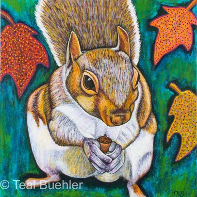 Fall Squirrel - 12 x 12 Acrylic on Canvas SOLD