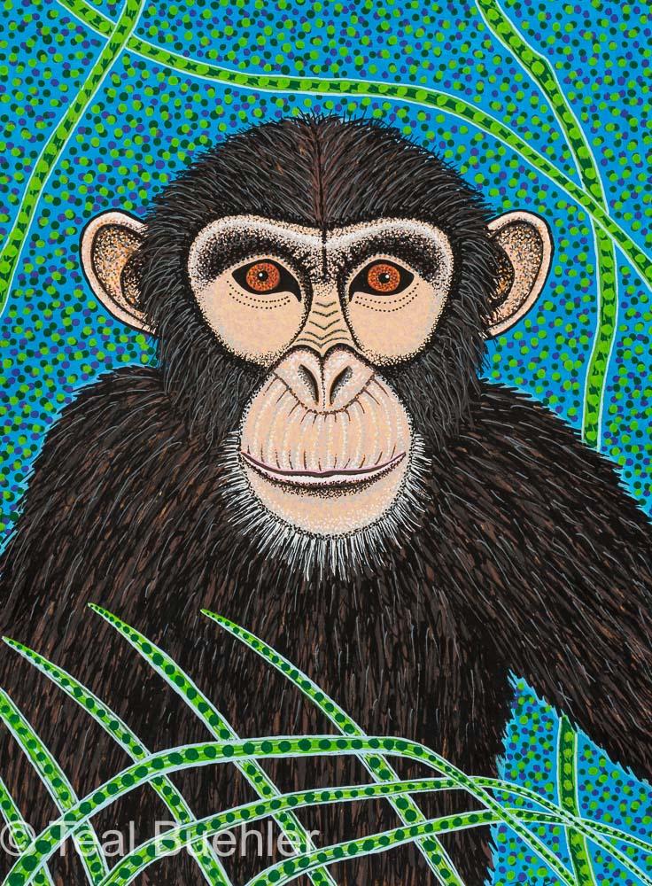 Chimpanzee - 8 x 10 Acrylic Paint & Pens on Watercolor Paper