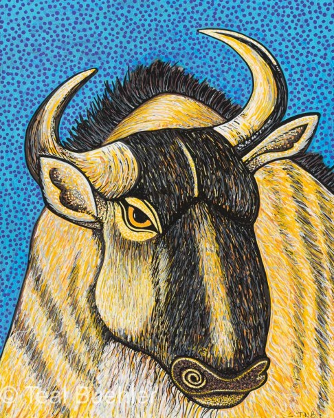 Wildebeest - 8 x 10 Acrylic Paint & Pens on Watercolor Paper