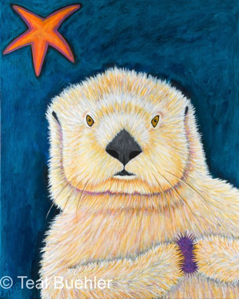 Sea Otter - 16 x 20 Acrylic on Stretched Canvas