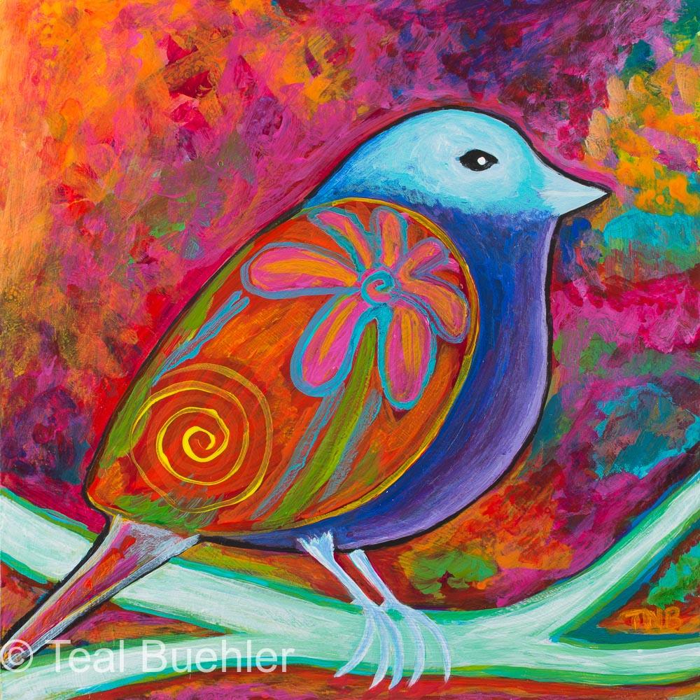 Spring Bird - 6 x 6 Acrylic on Masonite