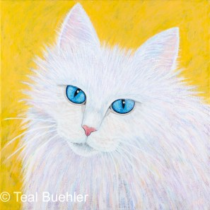 Fluffy White - 12 x 12 Acrylic on stretched canvas
