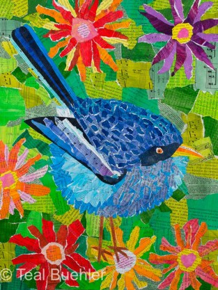 Bluebird with Flowers - 12x16 Collage on canvas board