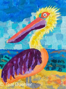 Pelican - 11x14 Collage on Canvas board