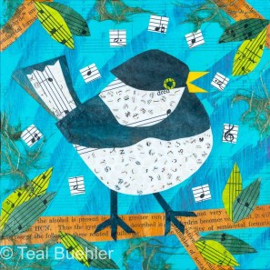 Singing Bird - 5x7 Collage on wood panel