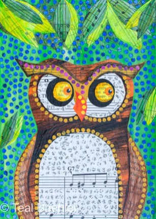 Owl Notes - 5x7 Collage on wood panel