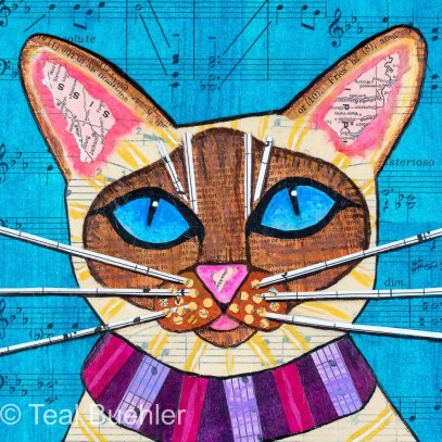 SOLD - Siamese Cat - 6x6 Collage on wood panel