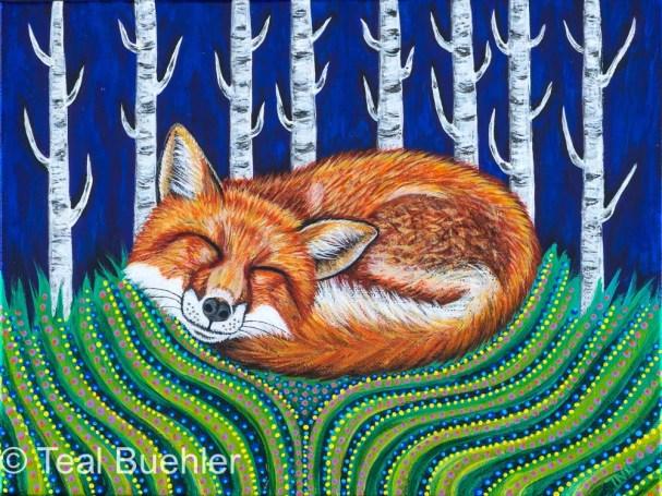 Sleeping Fox 9 x 12 Acrylic on canvas