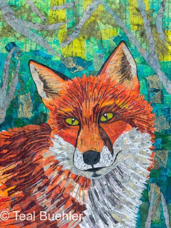 Lone Fox – 16x20 collage
