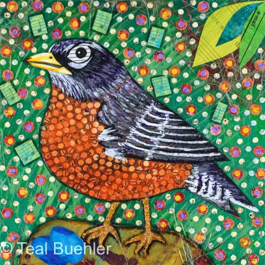 SOLD - Robin Notes - 6x6 Collage on wood panel