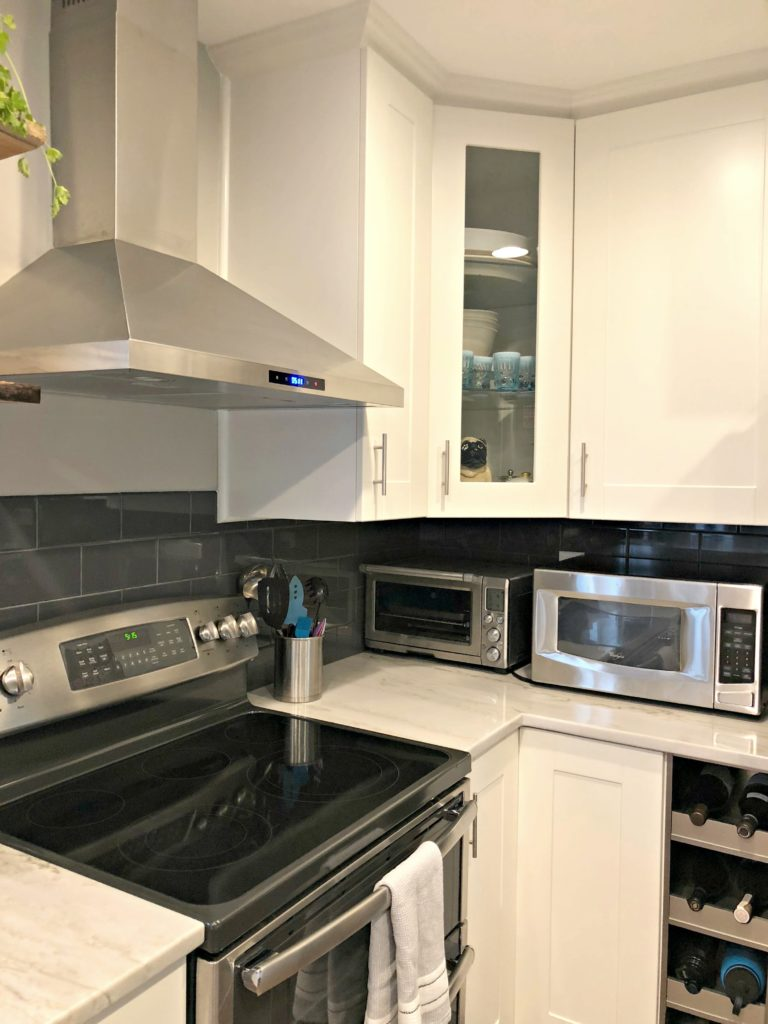 Kitchen counter, dishwasher, oven/stove, and refrigerator