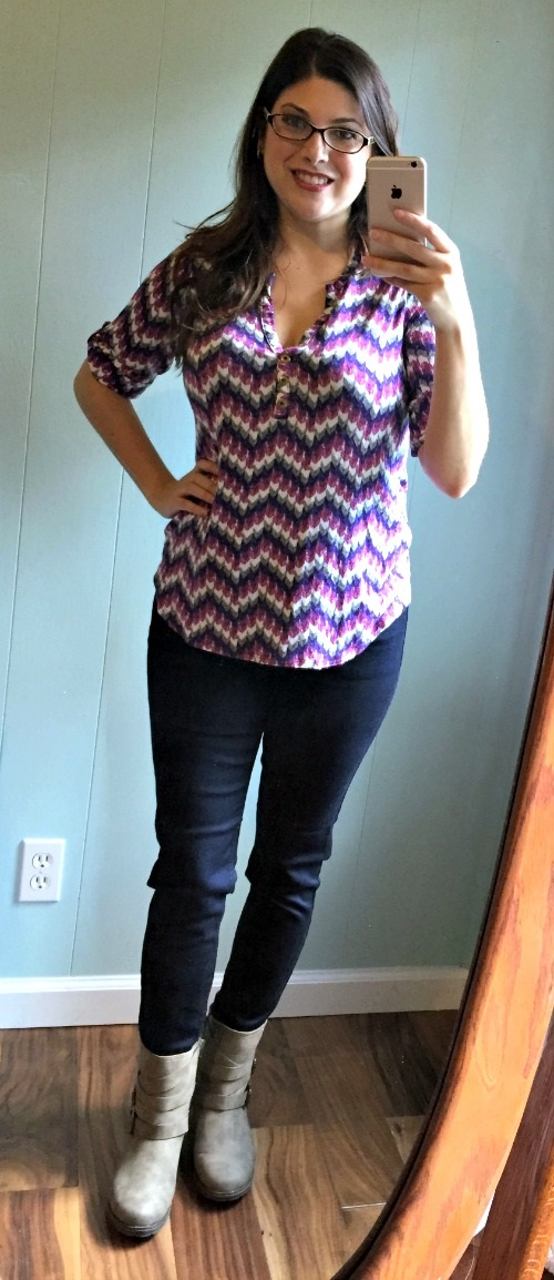 October 2015 Stitch Fix Review Just Black Jimmy Skinny Jean Pixley Edmond Chevron Print Henley Shirt