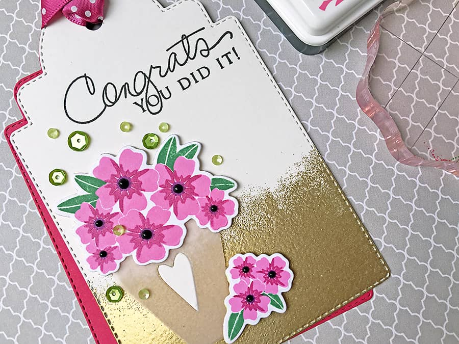 Beautiful & Easy Floral Congrats Tag with Gold Edge