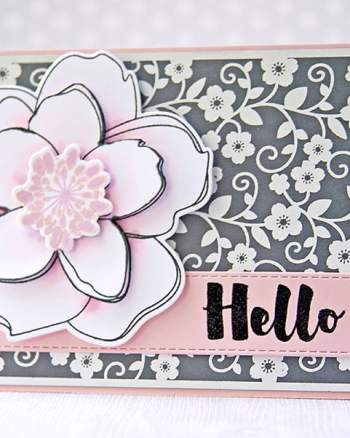 Lovely Magnolia Card With A White Foiled Background