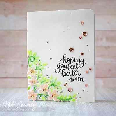 Feel Better With a Die Cut Corner & Sequins