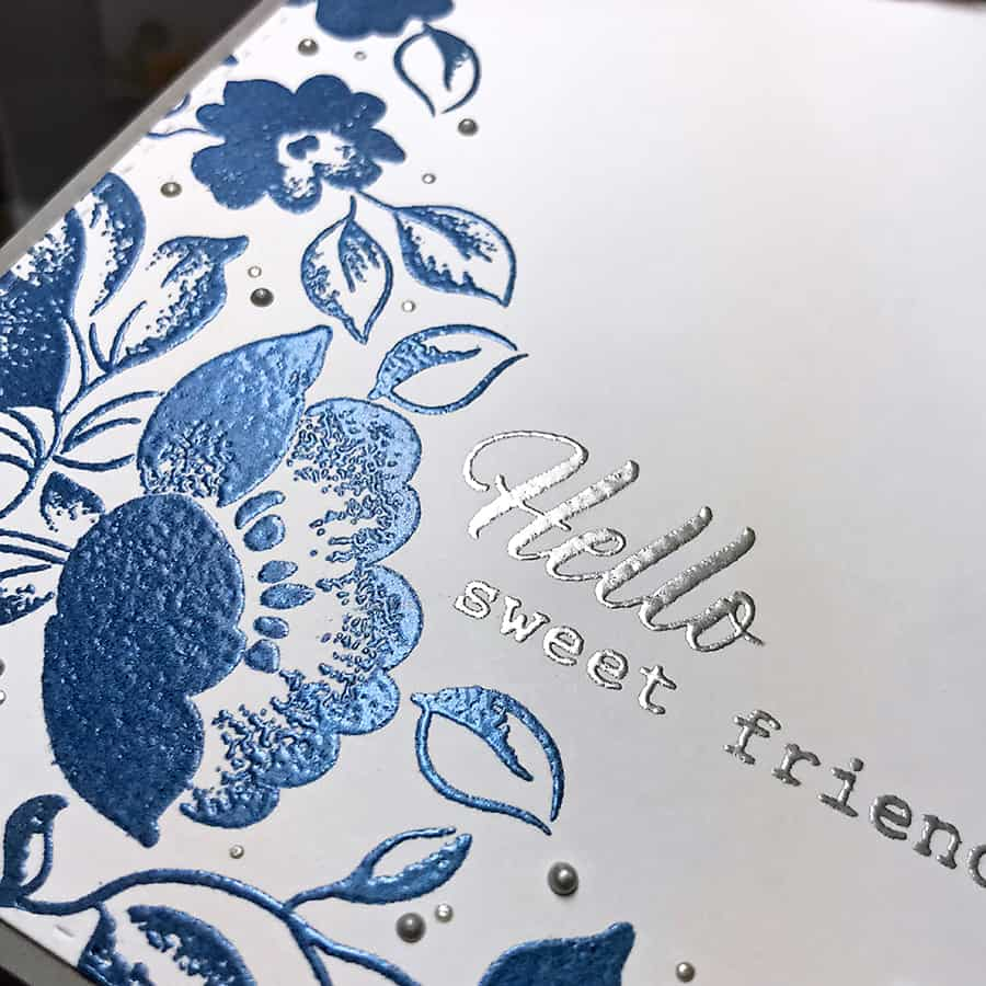Saying Hello with Embossed Florals From Altenew - Embossing the sentiment in silver