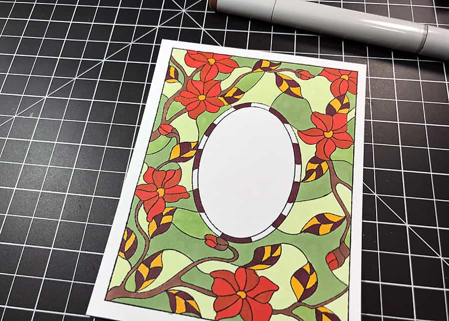 Autumn Stained Glass Blooms + Copics