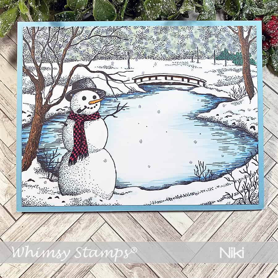Whimsy Stamps November Release: Winter Lake + Copics