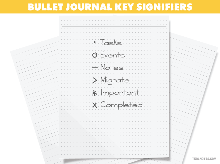 how to start a bullet journal, bullet journal key signifiers