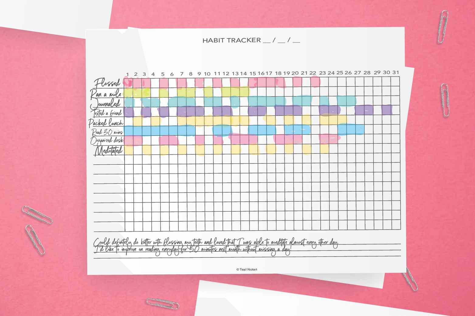 This is a photo of Massif Habit Tracker Printable Free