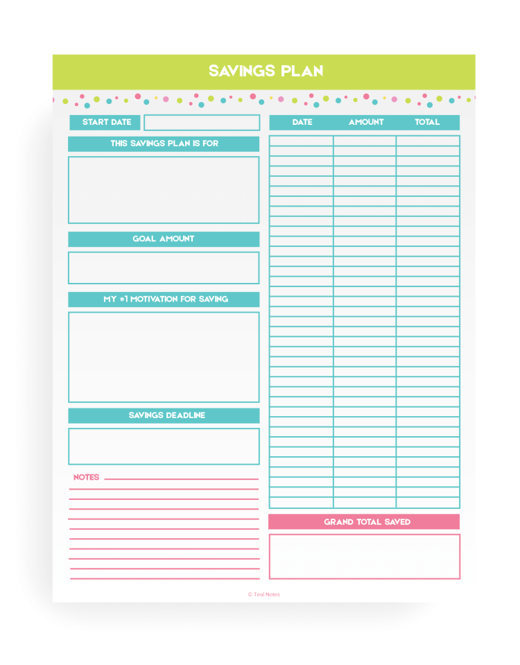 Savings Tracker Printable