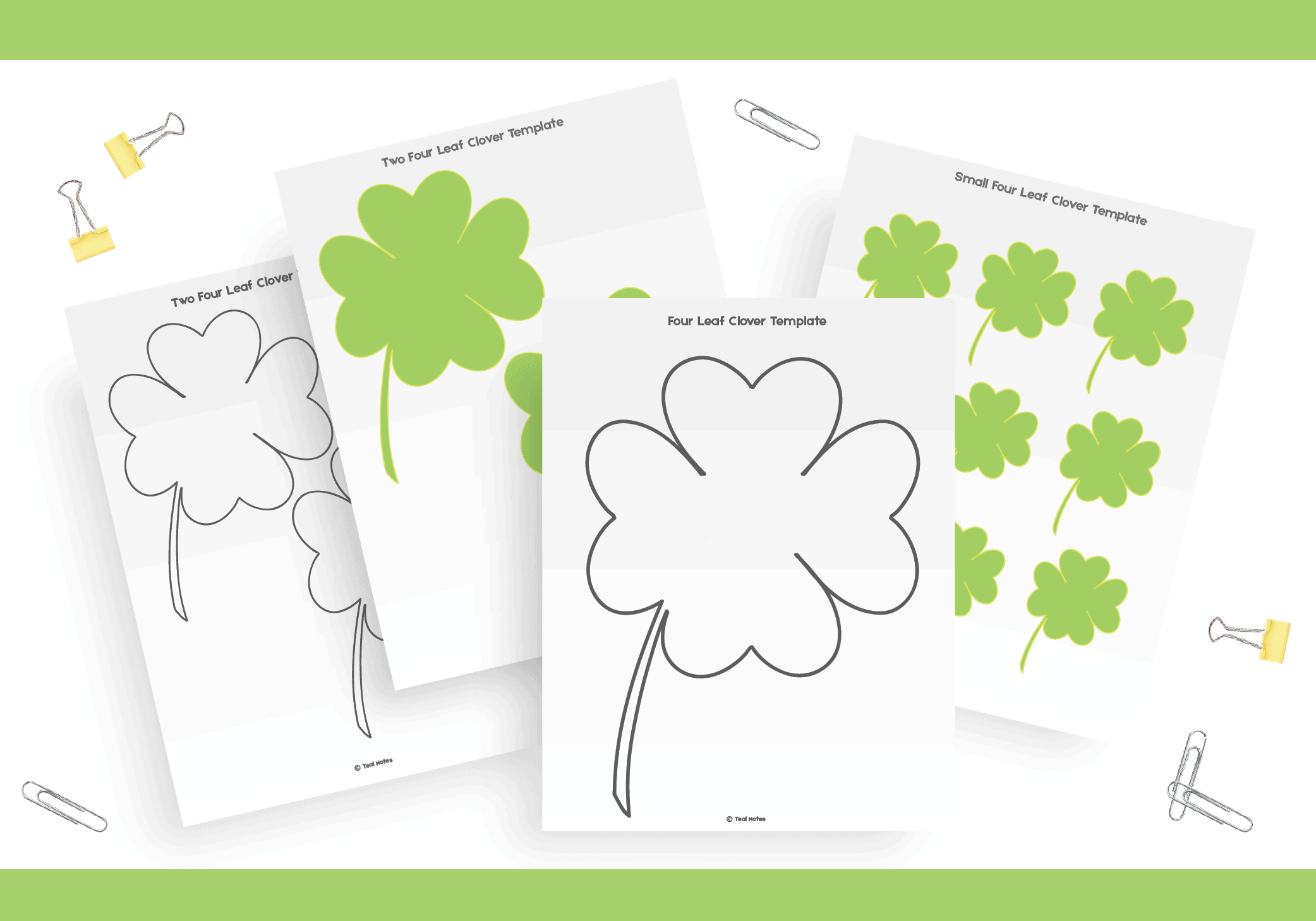picture about Printable Four Leaf Clover called 4 Leaf Clover Template: Totally free Shamrock Template Printable