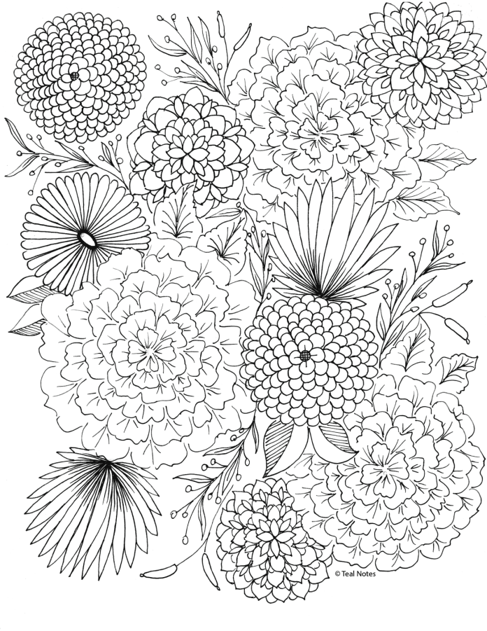 floral coloring page you can print and download for free